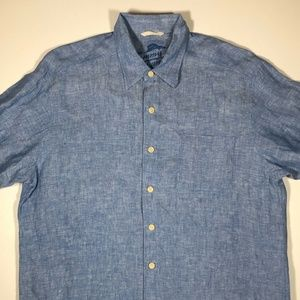 Tommy Bahama Long Sleeve Button Front  Shirt Blue